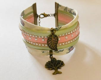 White, green and pink Cuff Bracelet liberty Ribbon, suede and leather