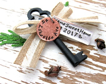 HOME SWEET HOME 2017 skeleton key ornament with address - hand stamped - burlap ribbon - rustic housewarming - new home keepsake - realtor