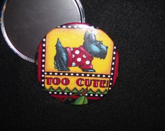 Too Cute Mary Engelbreit 3 inch Refrigerator Magnet, Circular with Fabric and Mylar Sheet