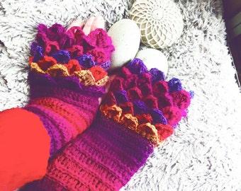 Dragonscale gloves, crochet fingerless gloves, rainbow fingerless mittens, crochet dragon gloves, game of thrones inspired mittens
