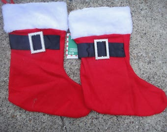 Christmas Stocking  with belts , DYI  , red and white stocking; ornate Christmas stocking; plain Christmas stocking; Christmas stocking set