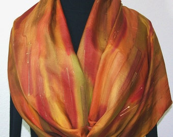 Handmade Silk Scarf Beige Olive Brick Red Burgundy Hand Painted Elegant Shawl AUTUMN BRONZE, by Silk Scarves Colorado. Select Your SIZE!