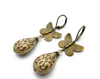 Antique Ivory and Brown Butterfly Earrings. Golden Shadow Swarovski. Mothers Day Gift Clip On Available