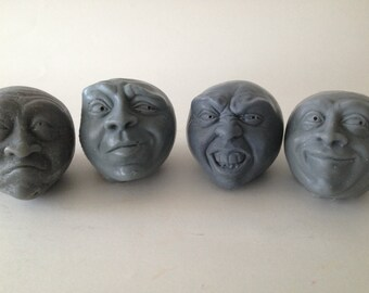 funny face, unusual soaps, novelty soaps, fun shaped soap, head soap, scrunch face, halloween favors, face soap,  goth favors, creepy faces