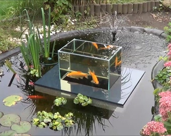 Flying-Aquarium-Linear 2500 gray Fish Observatory observation floating tank pond KOI Goldfish over water surface