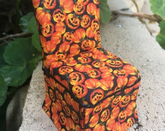 Orange Pumpkins / Halloween Parsons Chair - Dollhouse Miniature