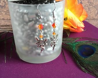 faerie charm earrings- fire opal crystal fairy drop earrings, orange