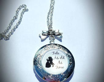Disney inspired Beauty and the Beast locket necklace