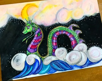 Lochness A4 oil pastel polychrome ink illustration Mythicalponez creature surreal bizarre ocean night sky moon clouds fairytale fantasy