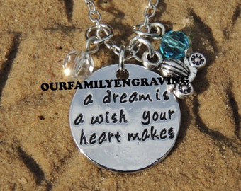 ON SALE A dream is a wish your heart makes cinderella inspired Hand stamped pendant necklace