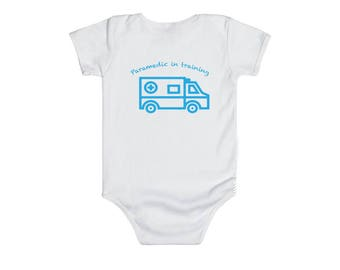Baby Paramedic in Training baby bodysuit, blue Baby Paramedic, EMT Paramedic baby gifts, EMT baby shower gifts, Paramedic baby shower
