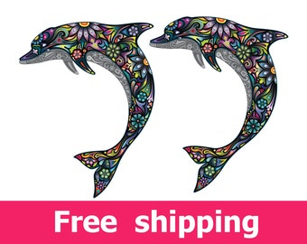 abstract dolphin wall sticker, texture dolphin wall decal, dolphin wall sticker removable vinyl animal dolphins. dolphins wall art [FL045]