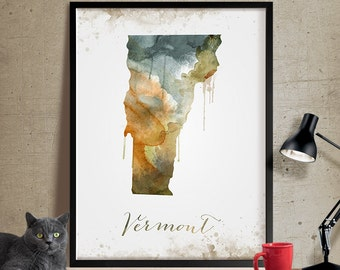 Vermont map, Vermont wall art, Vermont art, watercolor painting, Vermont print, map art, home decor, wall art, Vermont Poster (326)