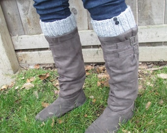 Gray Boot Toppers/Boot Cuffs with Black Buttons