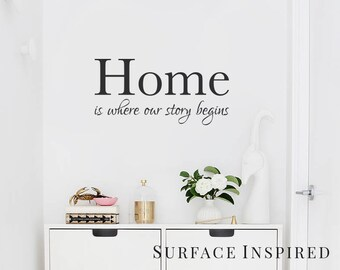Wall Decal Quote Home is where our story begins Vinyl Wall Decal Decor - Stickers Wall Decal Family Wall Decal Perfect Wedding Gift