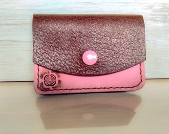 Card purse pink and brown handmade leather