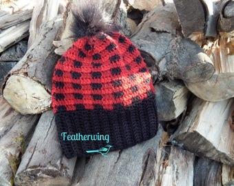 Mad for Plaid//Buffalo Plaid Hat//Lumberjack Hat//Ladies Winter Hat//Faux Fur Pompom Hat