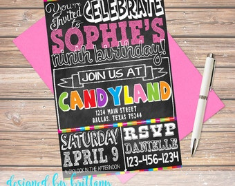 Candy Land, Chalkboard Birthday Invite - Customize to match your party, Digital file only!