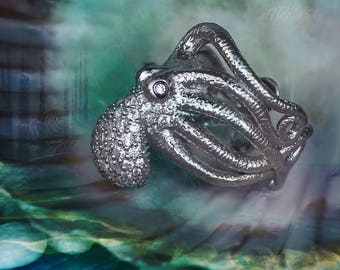 Octopus Ring 925 Sterling Silver Octopus Ring Antique Style Octopus Jewelry, Adjustable Ring 章鱼 戒指, Pieuvre Anneau octopus tentacle Krake