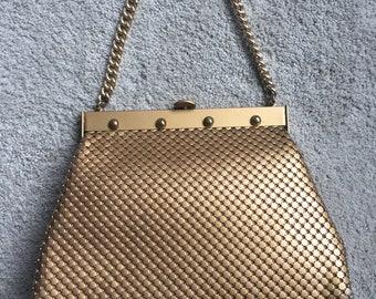 Vintage 1970's Authentic Whiting ans Davis Gold Mesh Handbag Purse