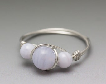 Blue Lace Agate Sterling Silver Wire Wrapped Gemstone Bead Ring - Made to Order, Ships Fast!