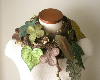 Long and Leafy Scarf with Embroidered Leaves - Tweedy Brown with Leaves of Emerald, Sage, Bronze, and Apple Green - Fiber Art Scarf