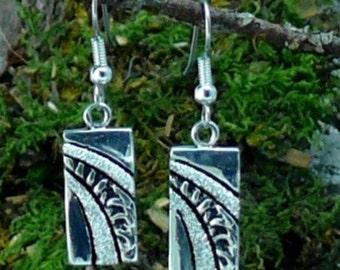 Waterfall Diamond Pave' Sterling Silver Earrings