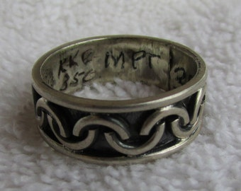 Sterling Silver Band Ring from Mexico  Size 9 3/4