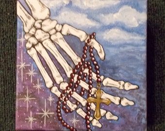 skeleton hand acrylic painting 6 inches by 6 inches