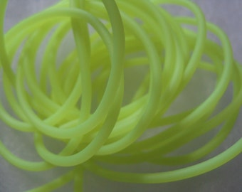 2mm Round Rubber Cord Fluorescent Yellow  Color  8 feet Necklace Bracelet Cord