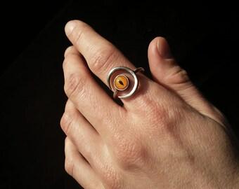 Glass Eye Moon Ring-Size 7