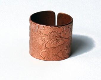 Etched Copper Floral Ring - Adjustable size