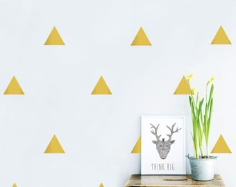 Triangle wall Decal, Gold Triangle, Patterned Wall Sticker, Removable Vinyl Decal for Nursery, Kids wall decor,Geometric wall decal