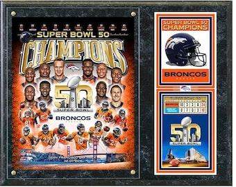 "Denver Broncos 2016 Super Bowl 50 Champions Composite (Size: 12"" x 15"") Wood Plaque"