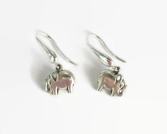 Sterling silver elephant charm hook earrings on sterling silver hooks, 5 grams