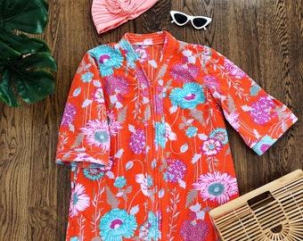 60s Floral House Dress / Front Zipper / Mod Dress / 1960s Maxi Dress / One Size