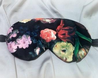 Vintage flowers Sleep Mask for Women Satin Girls Slumber Party Mask Travel SleepMask Bachelorette Party Mask Relaxing soft mask, eye cover