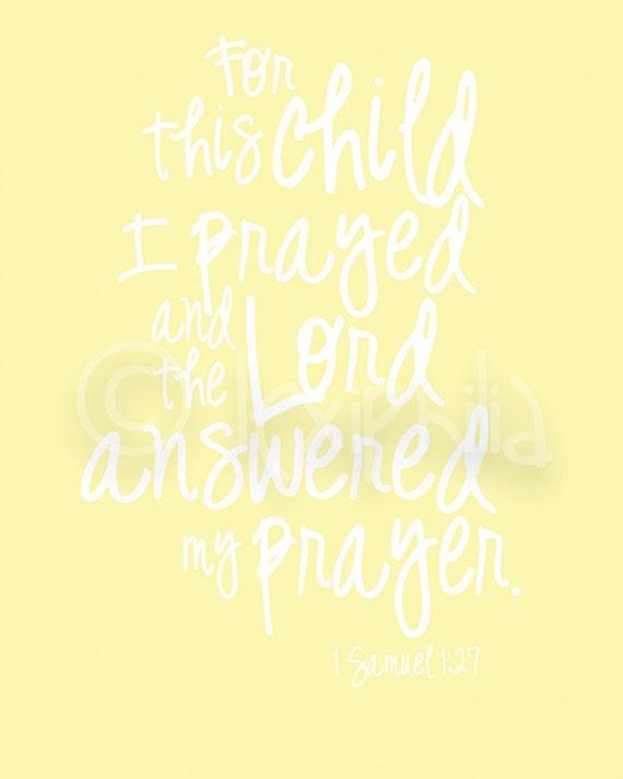 For this child I prayed 1 Samuel 1:27 Nursery Art Print