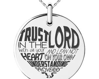 Stainless Steel Trust in the Lord Proverbs 3:5 Engraved Small Medallion Circle Charm Pendant Necklace / Silver / Black / Rose / Gold
