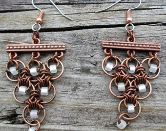 Copper and frosted white beaded chain maille earrings