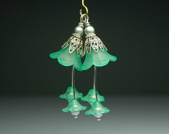 Vintage Style Bead Earring Dangles Hand Dyed Seafoam Green Lucite Flowers Pair