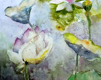 THE LOTUS WATERCOLOR on water