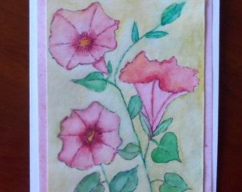 Morning Glory Card Watercolor Morning Glory Greeting Card Watercolor and Ink Morning Glories Watercolors