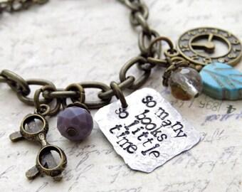 Bookworm Charm Bracelet. Handstamped bracelet, Best Friend Gift, Book bracelet, Agate Stone, Eyeglasses, Watch
