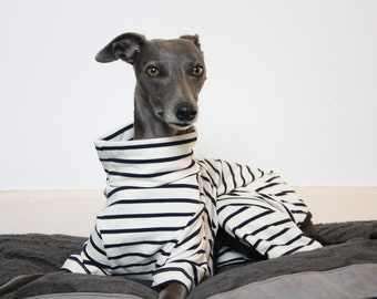 Cream and Navy Stripe Onesie / Pyjamas, Whippet, Italian Greyhound, Greyhound, Lurcher, Sighthound, Galgo, Saluki Clothing