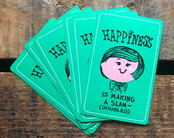 Vintage Playing Cards - Set of 6 - Cute Lady, Vintage Girl Cards, Girl Playing Cards, Green Cards, Happiness Cards, Junk Journal, Ephemera