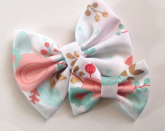 White Floral Bow | Fabric Bow | Handmade Hair Bow | Hair Clip | Headband
