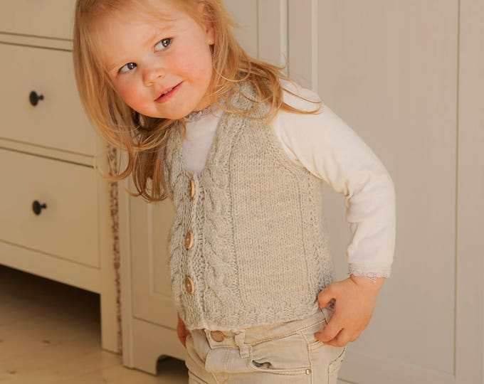 KNITTING PATTERN cable vest with buttons Luna (toddler and kids sizes)