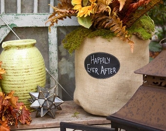 Burlap Bucket Bag with Re-Useable Chalkboard Label for Outside Décor or Floral Bag