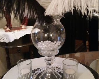 Gatsby Ostrich Feather Centerpiece-Ostrich Feathers-Sweet 16-Wedding-Hollywood-Bridal Shower-Party-Birthday-Conference-Anniversary-Pearls